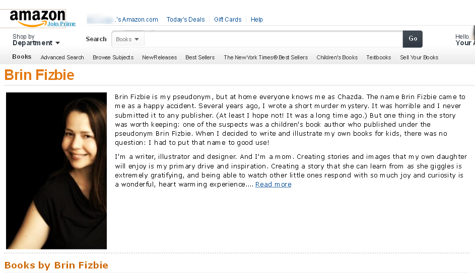Brin-Fizbie-Author-Page-Amazon Author Platform Examples on business examples, solutions examples, space examples, textbook sidebar examples, time examples, services examples, architecture examples, blog examples, content examples, media examples, network examples, soccer examples, physics examples, capacity examples, model examples, development examples, format examples, strategy examples, publisher examples, integration examples,